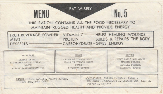 Ration Pack Menu